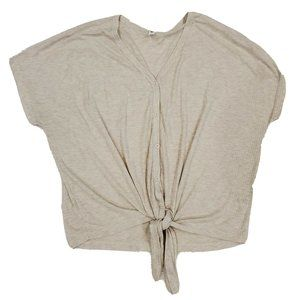 BP Oversized Beige Knotted Casual Shirt Buttons